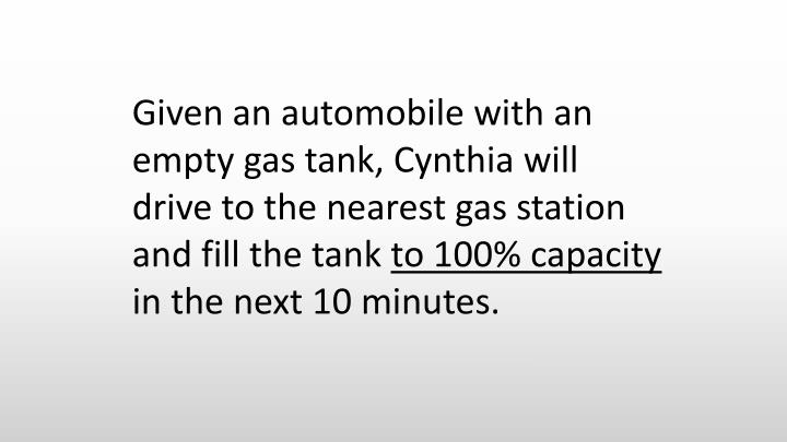 Given an automobile with an empty gas tank, Cynthia will drive to the nearest gas station and fill the tank
