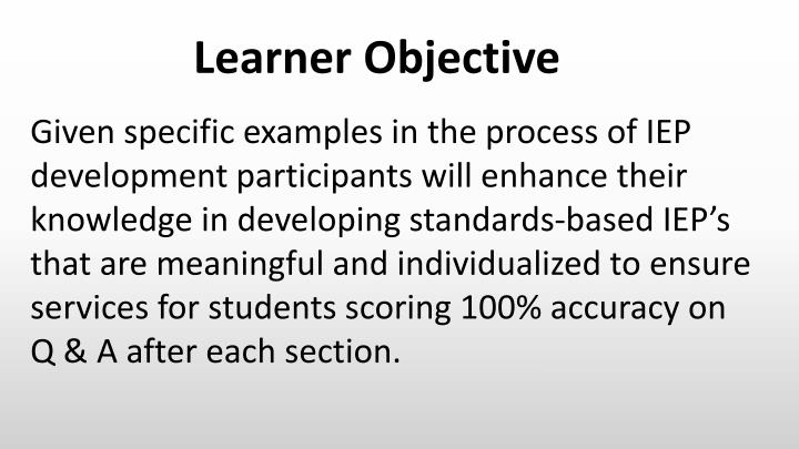 Learner Objective