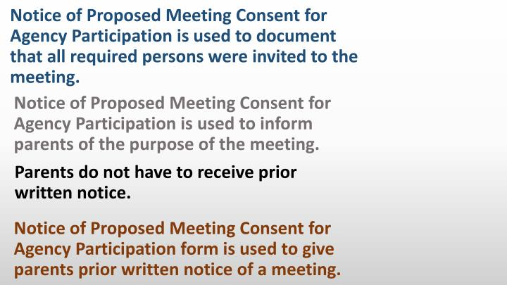 Notice of Proposed Meeting Consent for Agency Participation is used to inform parents of the purpose of the meeting.