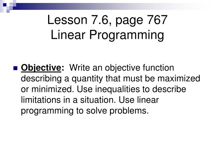 Lesson 7 6 page 767 linear programming