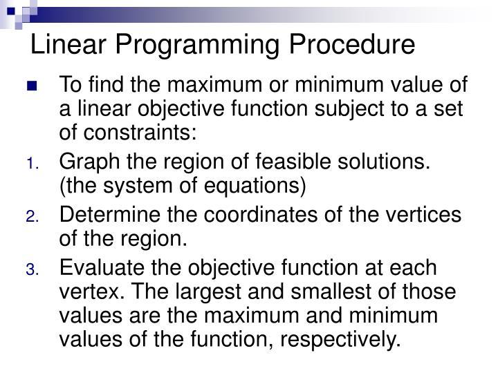 Linear Programming Procedure
