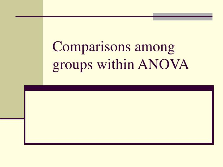 Comparisons among groups within anova