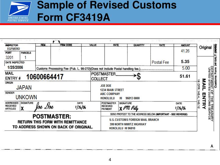 Sample of Revised Customs Form CF3419A