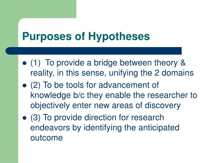 Purposes of Hypotheses