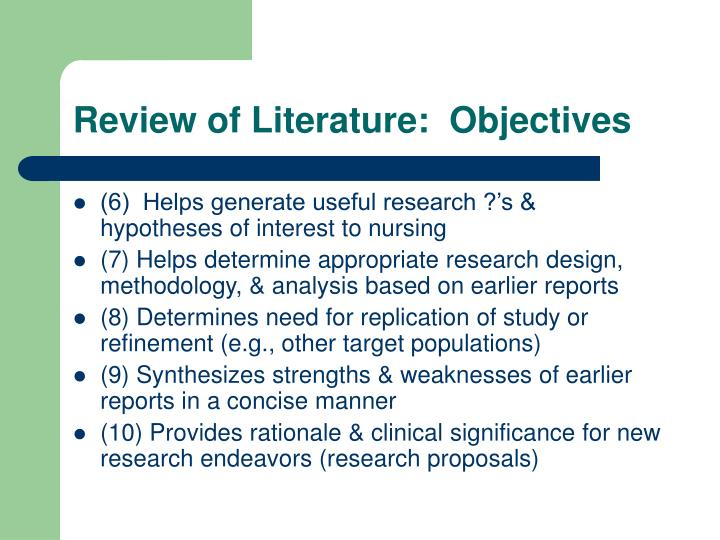 Review of Literature:  Objectives