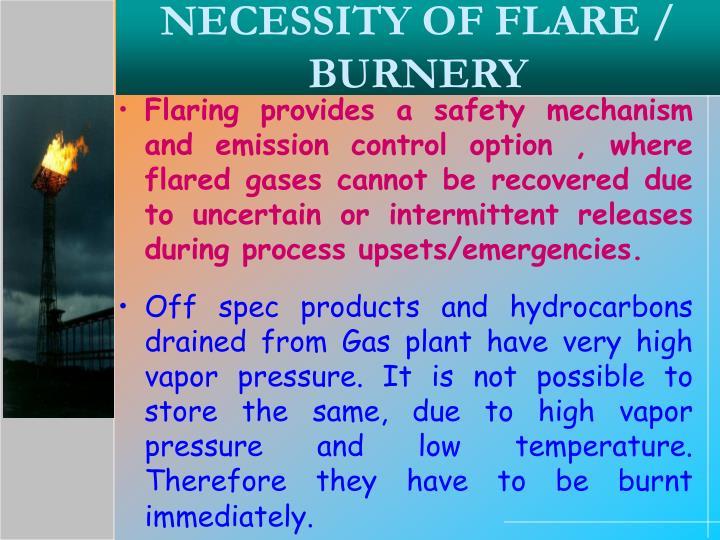 Necessity of flare burnery