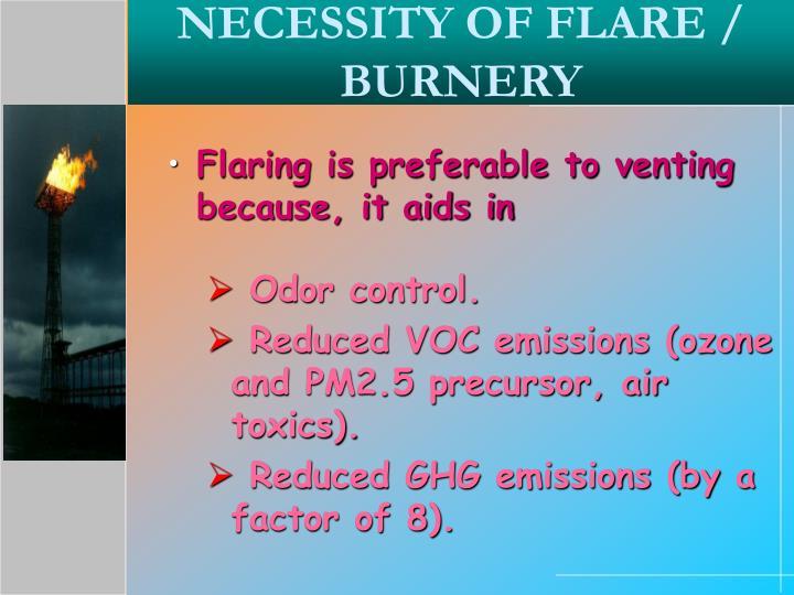 NECESSITY OF FLARE / BURNERY