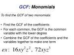 gcf monomials