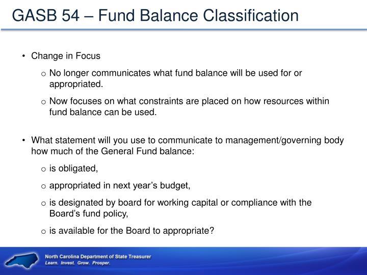 GASB 54 – Fund Balance Classification