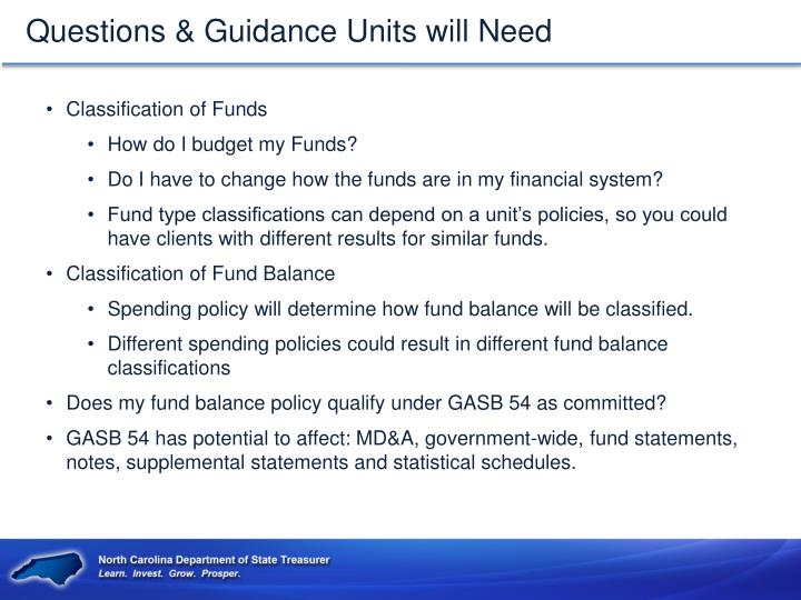 Questions & Guidance Units will Need
