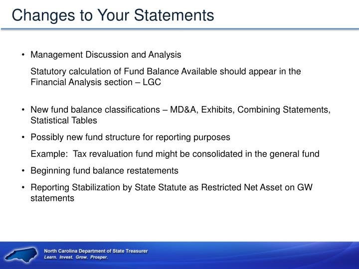 Changes to Your Statements