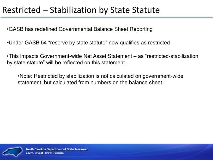 Restricted – Stabilization by State Statute