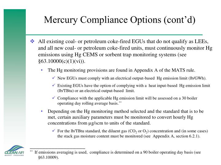 Mercury Compliance Options (cont'd)