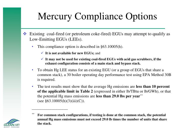 Mercury Compliance Options