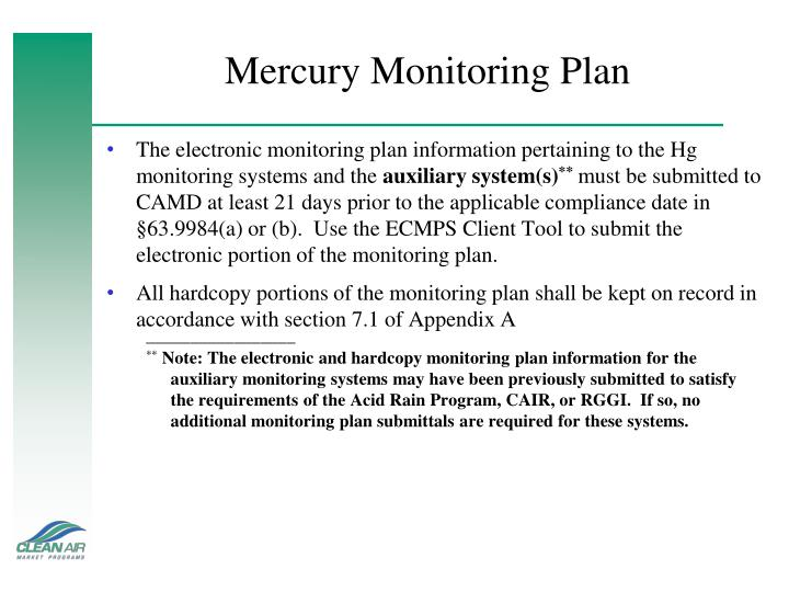 Mercury Monitoring Plan