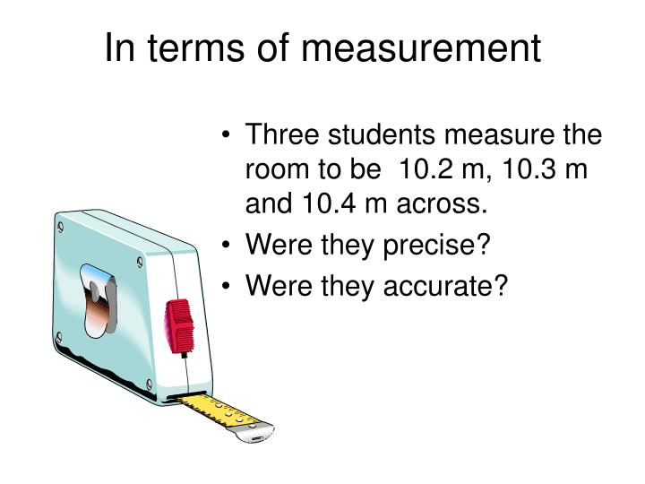 In terms of measurement