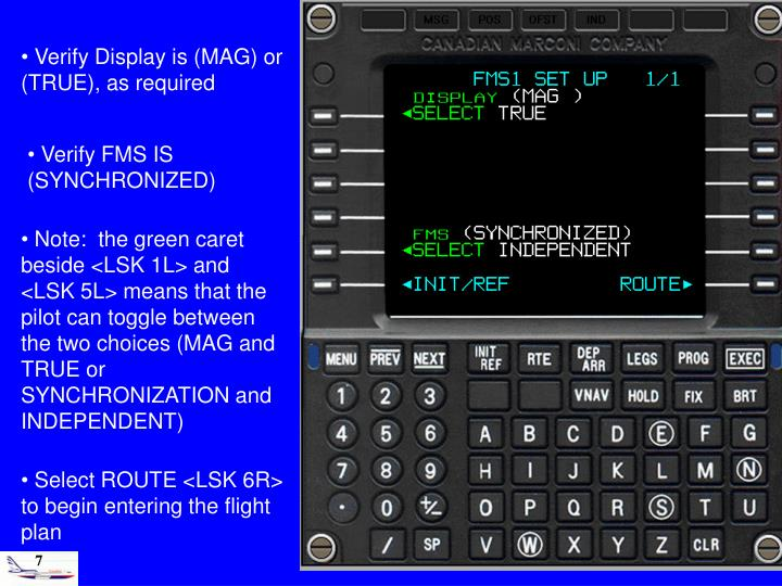 Verify Display is (MAG) or (TRUE), as required