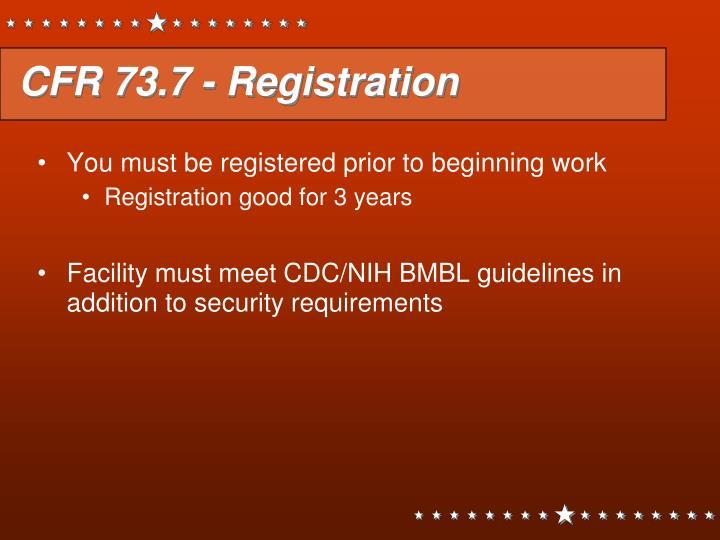 CFR 73.7 - Registration