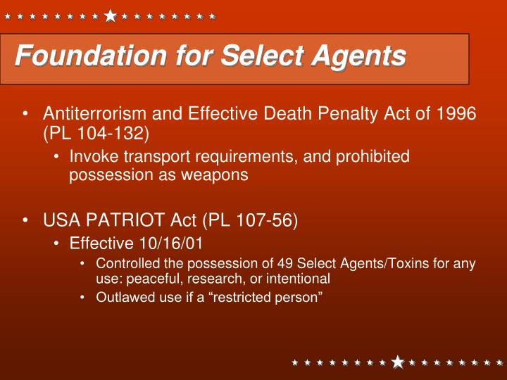 Foundation for Select Agents