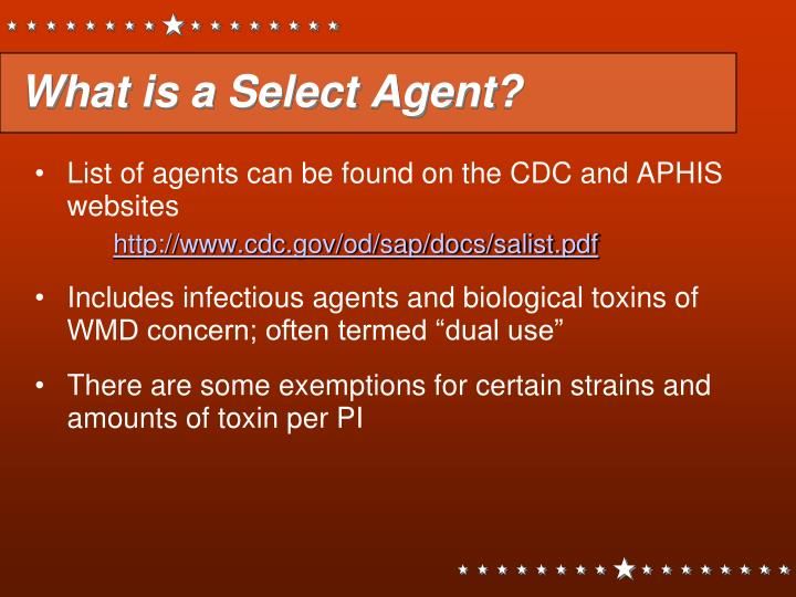 What is a Select Agent?
