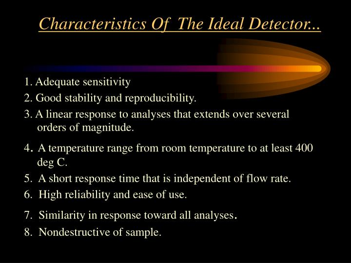 Characteristics Of  The Ideal Detector...