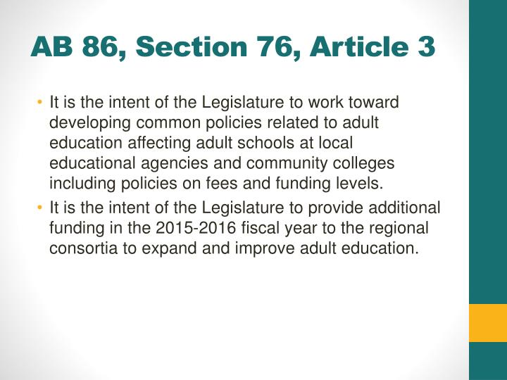 AB 86, Section 76, Article 3