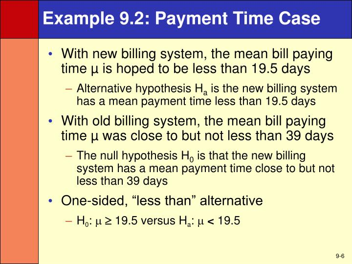 Example 9.2: Payment Time Case