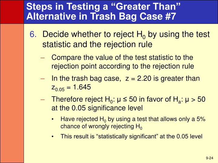 "Steps in Testing a ""Greater Than"""