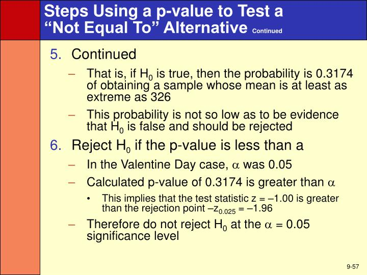 Steps Using a p-value to Test a