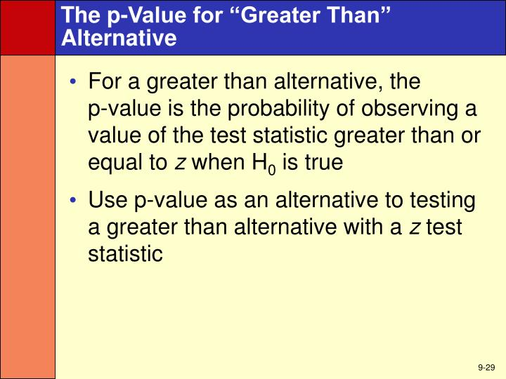 "The p-Value for ""Greater Than"" Alternative"