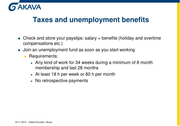 Taxes and unemployment benefits