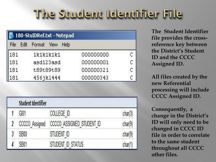 The Student Identifier File