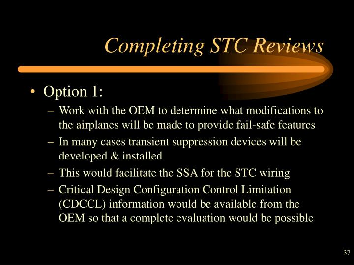 Completing STC Reviews