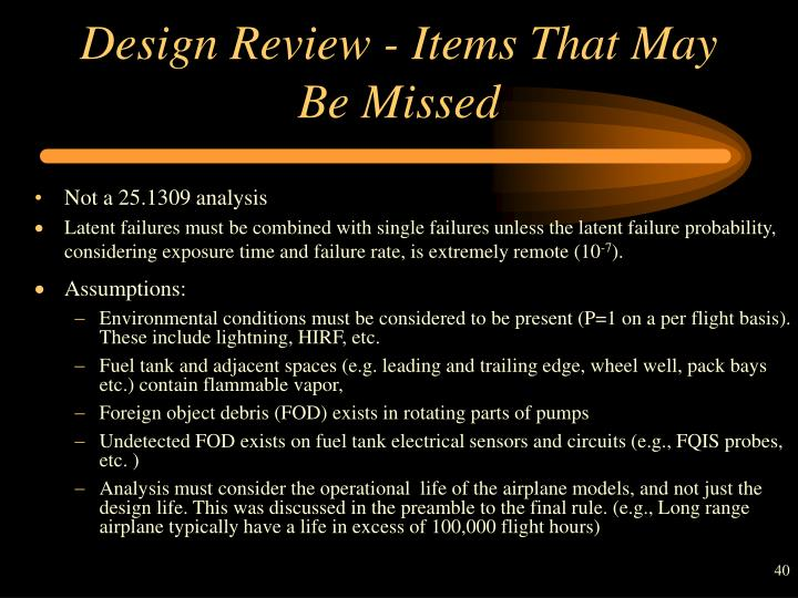 Design Review - Items That May Be Missed