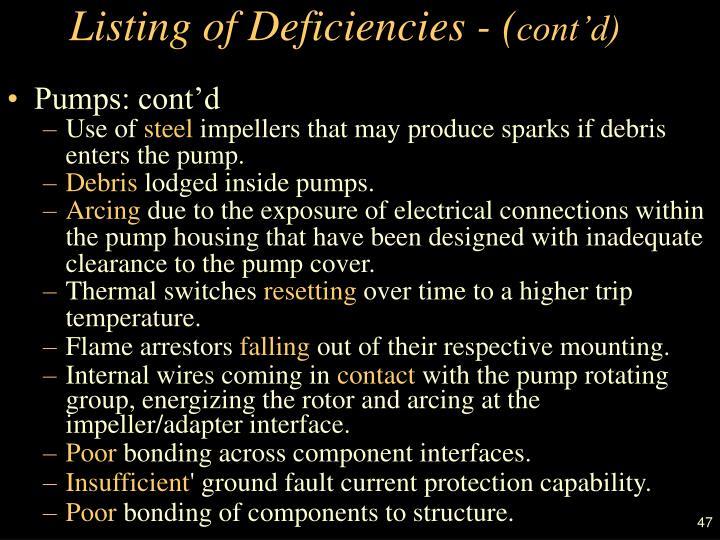 Listing of Deficiencies - (