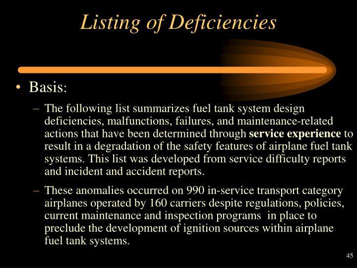 Listing of Deficiencies