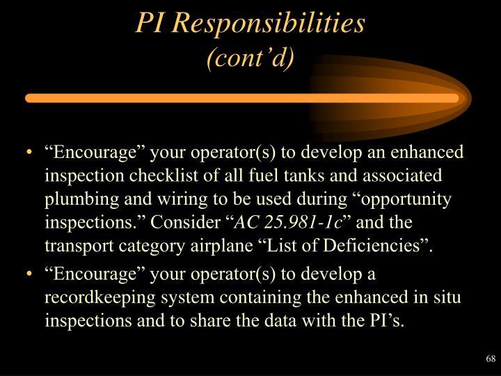 PI Responsibilities