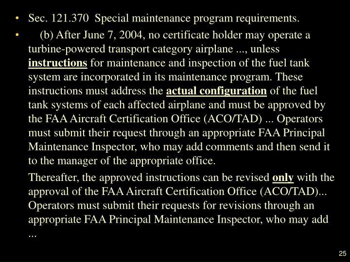 Sec. 121.370  Special maintenance program requirements.