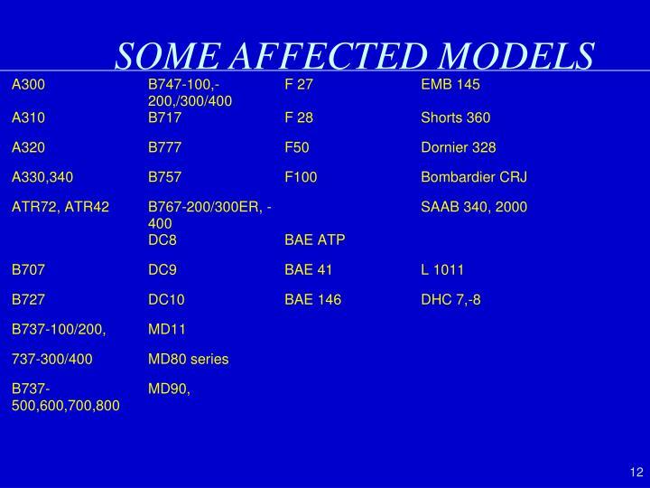 SOME AFFECTED MODELS