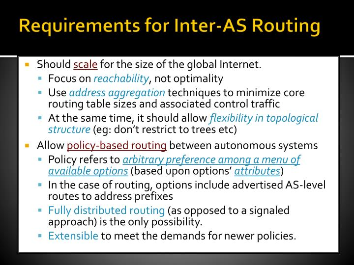 Requirements for Inter-AS Routing