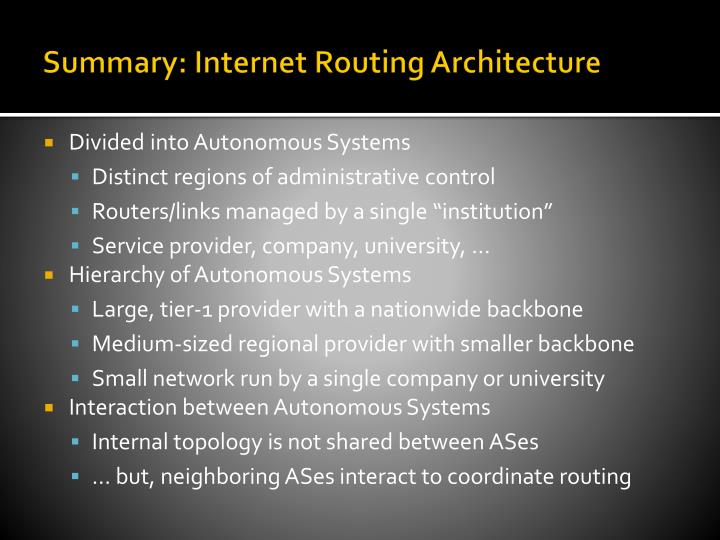 Summary: Internet Routing Architecture