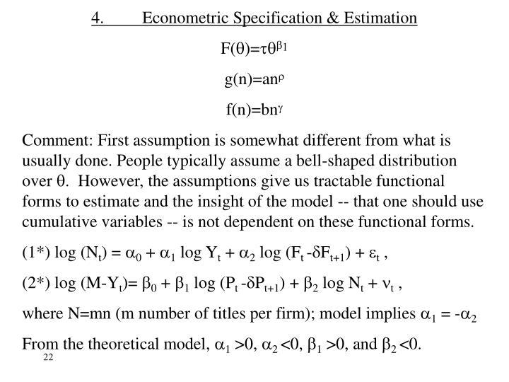 4.Econometric Specification & Estimation
