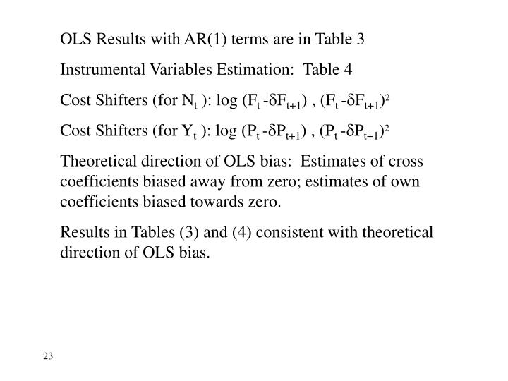 OLS Results with AR(1) terms are in Table 3