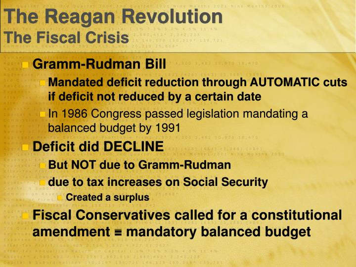 The Reagan RevolutionThe Fiscal Crisis