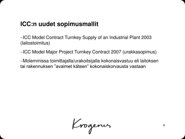 Icc n uudet sopimusmallit