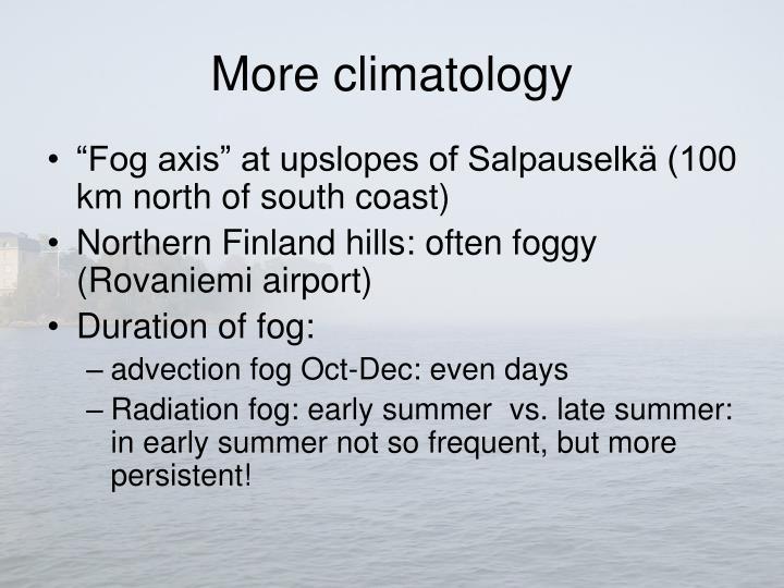 More climatology