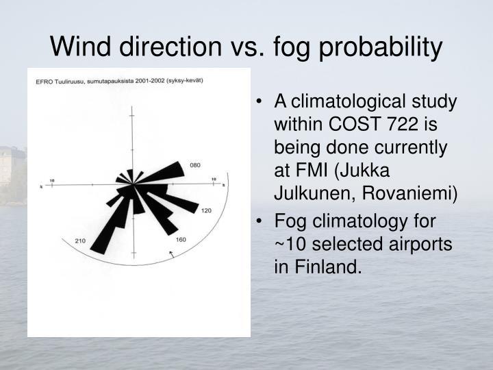 Wind direction vs. fog probability