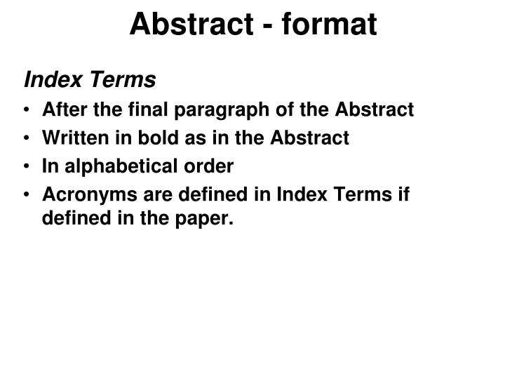 Abstract - format