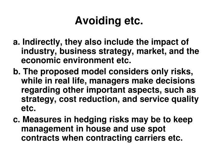 Avoiding etc.