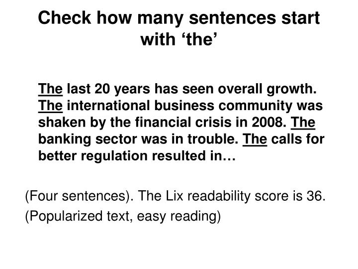Check how many sentences start with 'the'